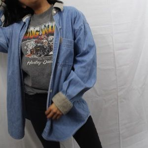 90s style denim button down